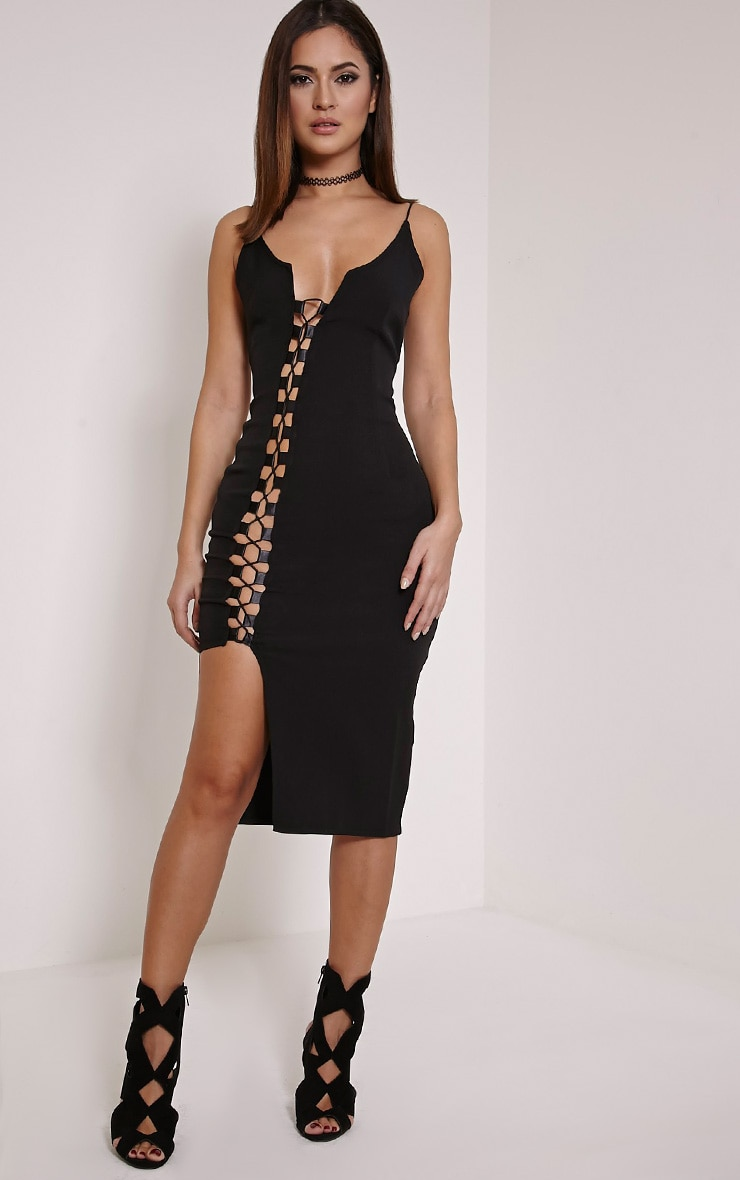 Lovina Black Lace Up Bodycon Dress 1