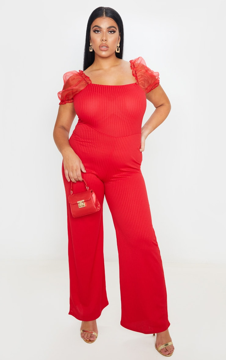 Plus Red Organza Sleeve Wide Leg Jumpsuit 1