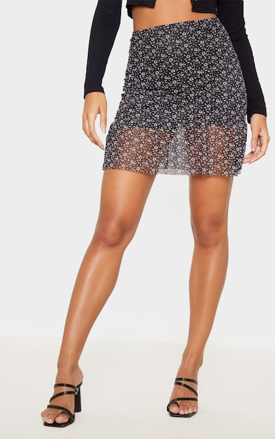 Black Floral Printed Mesh Frill Hem Mini Skirt