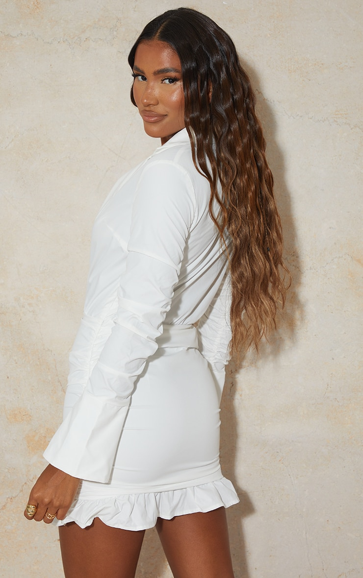 White Oversized Cuff Ruched Sleeve Plunge Shirt Style Bodycon Dress 2