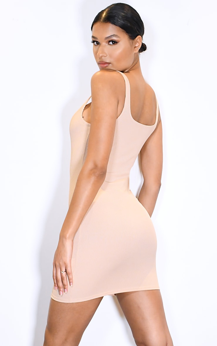 Stone Ribbed Scoop Neck Bodycon Dress 2