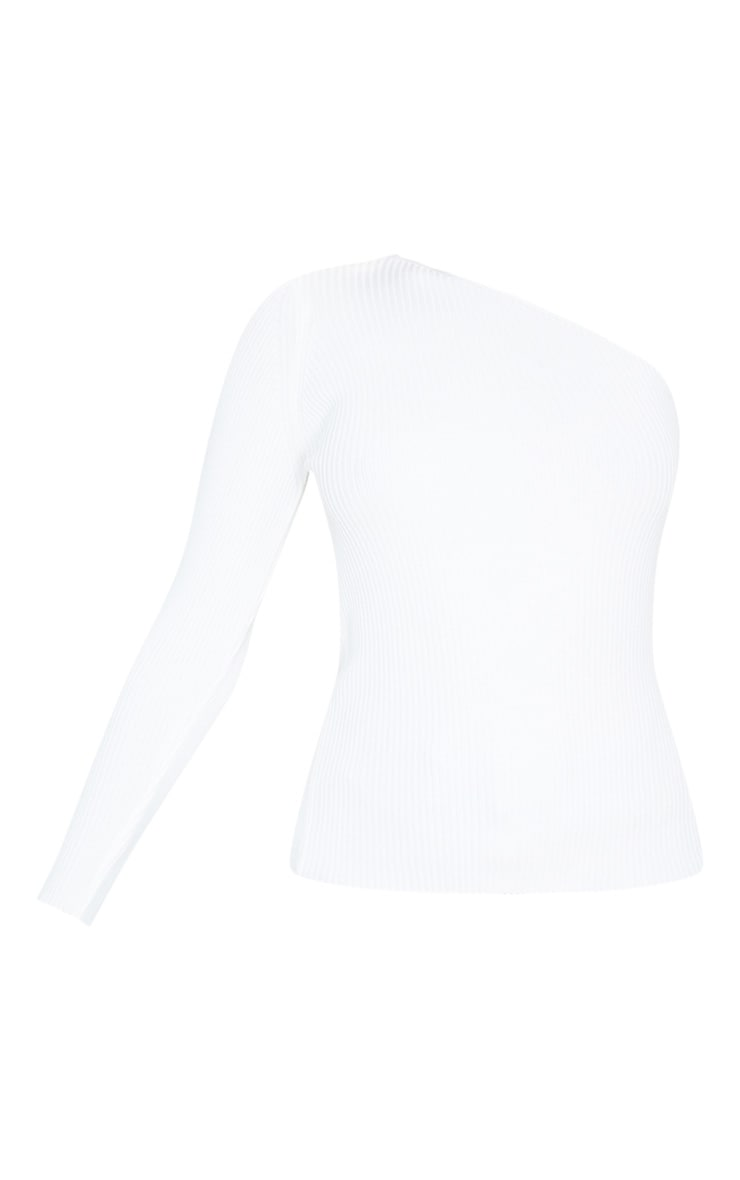 White Asymmetric One Sleeve Knitted Rib Top 3