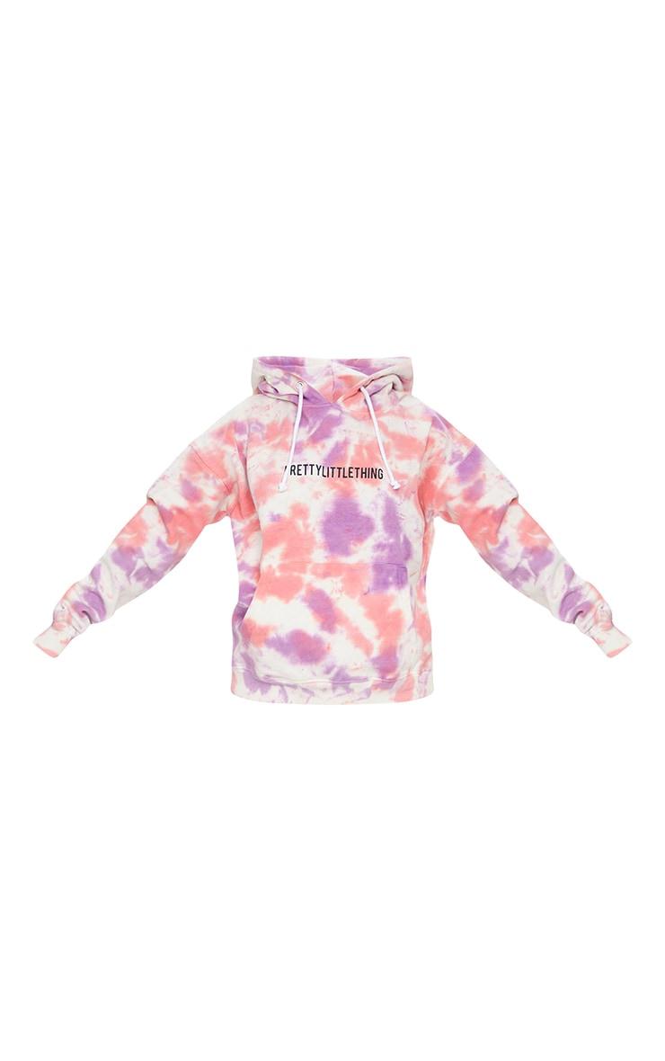 PRETTYLITTLETHING Pink Oversized Tie Dye Hoodie 5