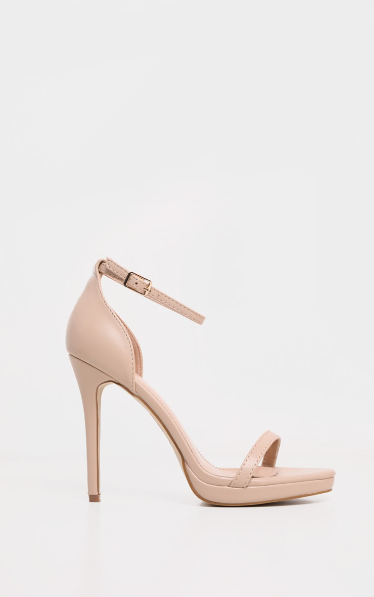 Enna Nude Single Strap Heeled Sandals 6