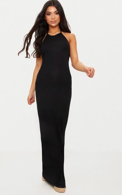 Black Basic Halterneck Maxi Dress