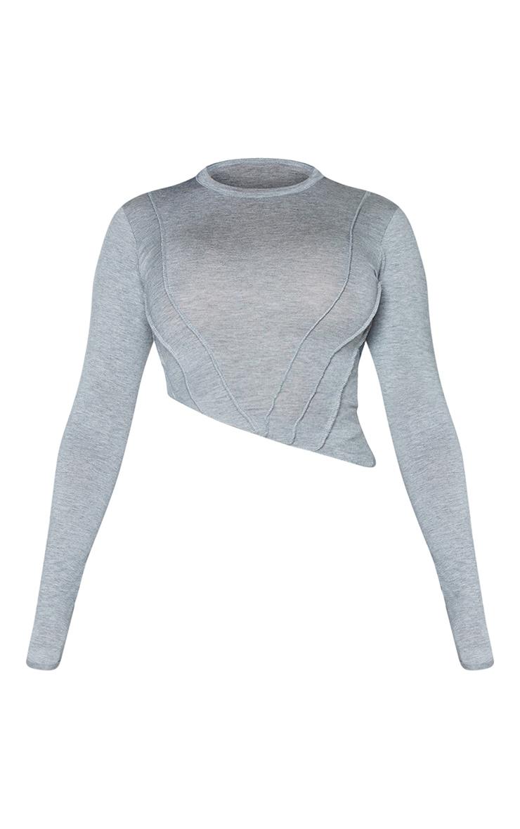 Shape Grey Seam Detail Asymmetric Crop Top 5