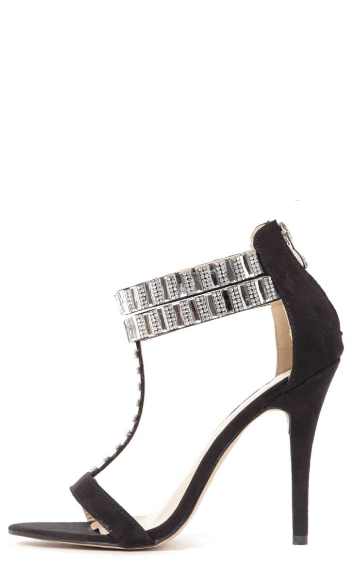 Rosie Black Diamante Stiletto Heels 1