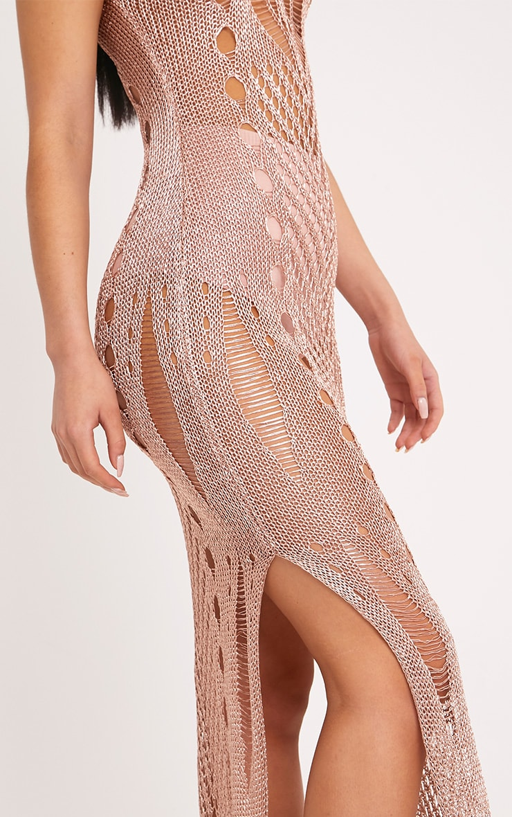Donatella Rose Gold Metallic Pointelle Knit Maxi Dress 5