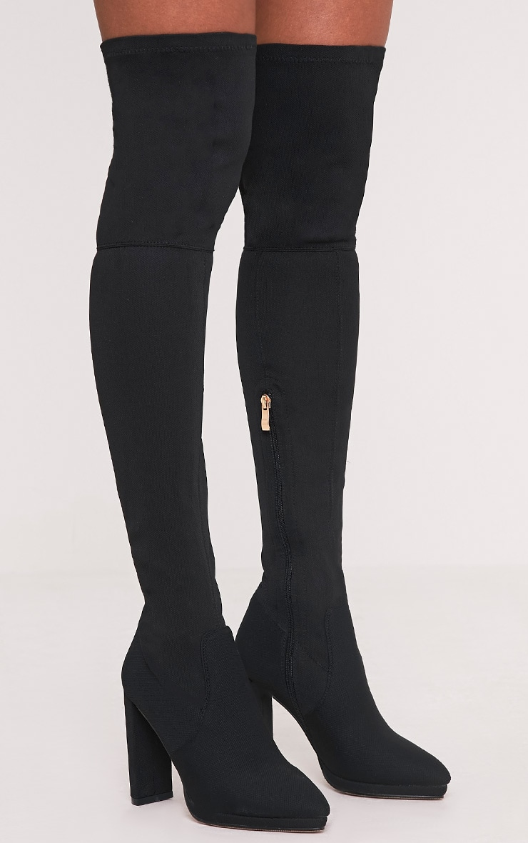 Riyah Black Knitted Pointy Thigh High Sock Boots 2