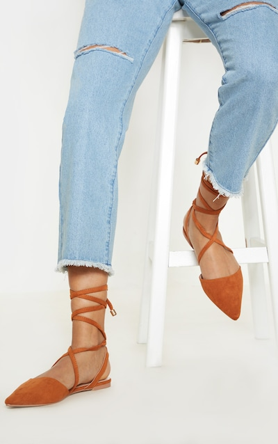 Tan Point Toe Ankle Tie Flat