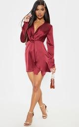 Burgundy Satin Long Sleeve Wrap Dress  4