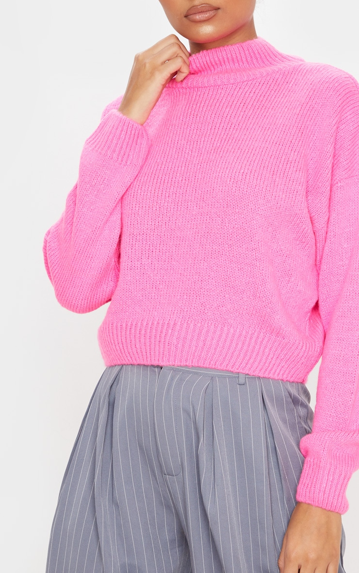 Hot Pink High Neck Fluffy Knit Cropped Sweater 5
