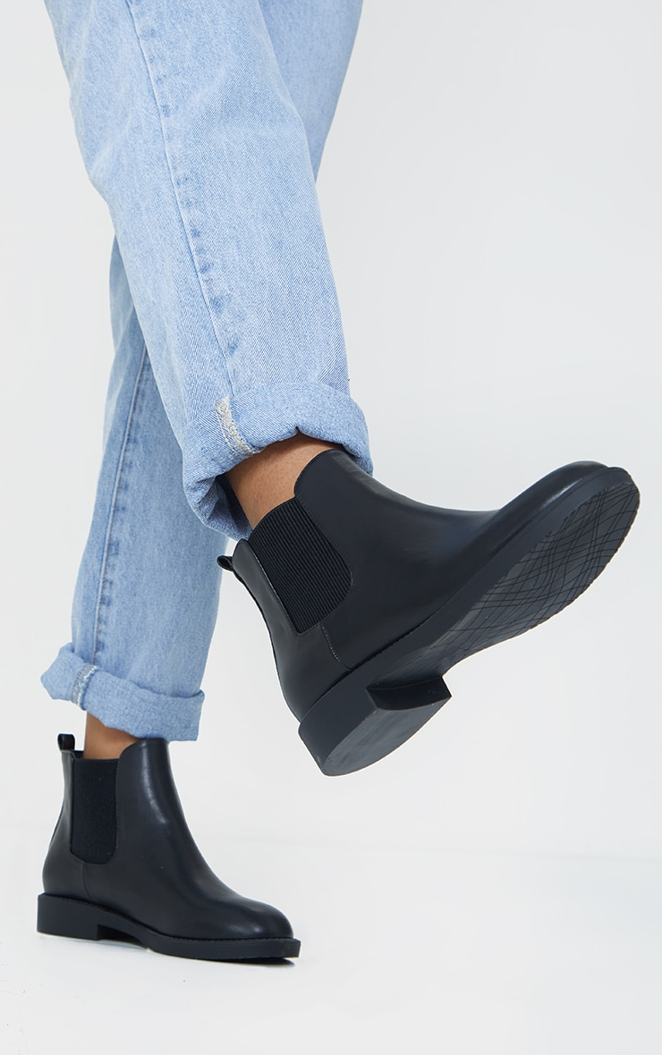 Black Faux Leather Basic Chelsea Ankle Boots