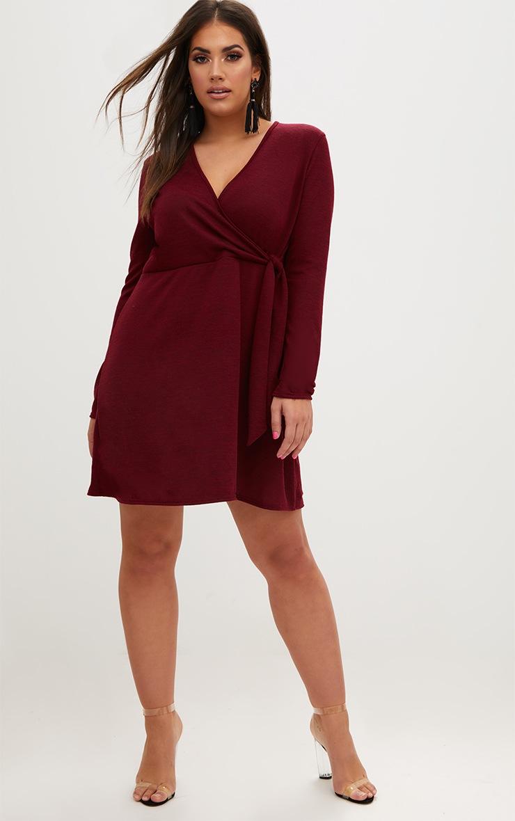 Plus Wine Tie Side Skater Dress 3