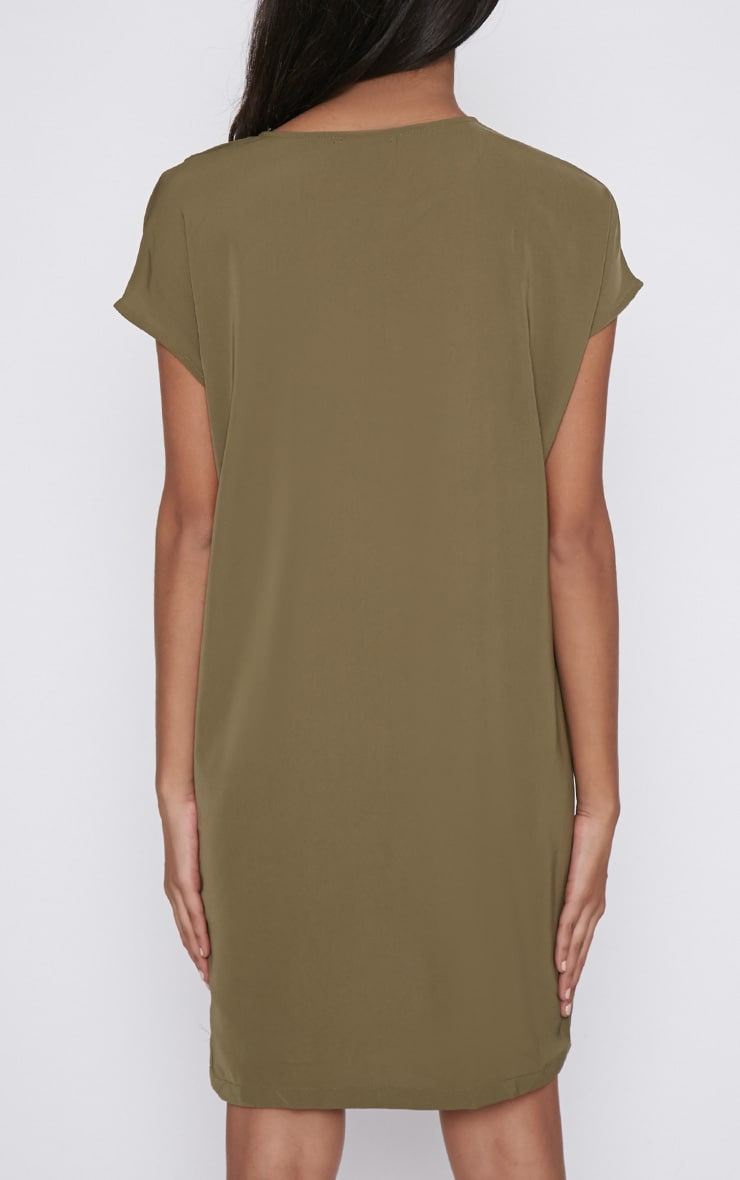 Wilma Khaki Shift Dress 2