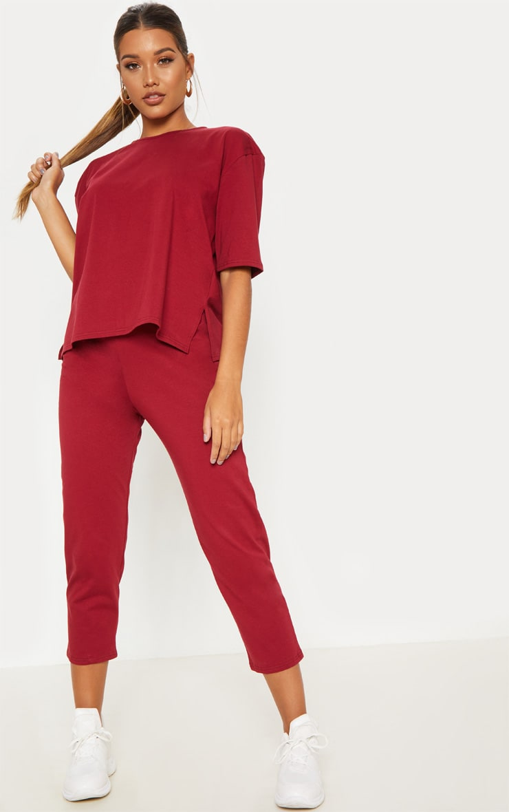 Burgundy Jersey Crew Neck Boxy T Shirt & Trouser Set 4