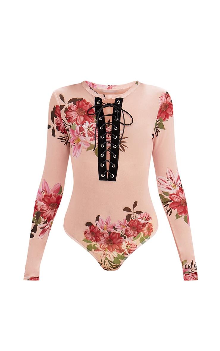 Pink Floral Print Mesh Eyelet Plunge Thong Bodysuit 3