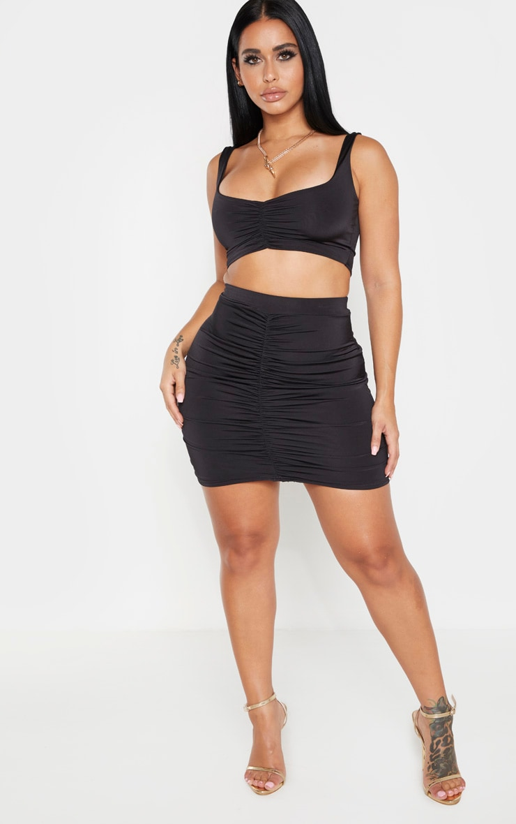 Shape Black Ruched Strappy Crop Top 3