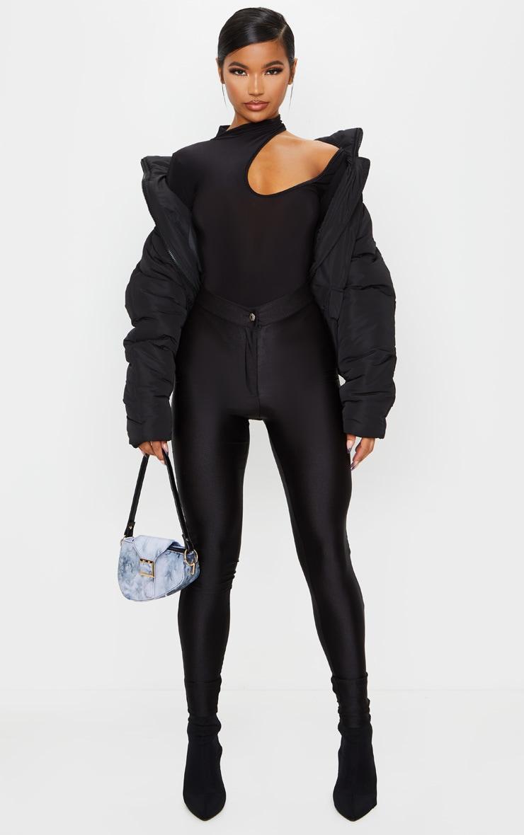 Black Slinky Cut Out Strappy Bodysuit 1