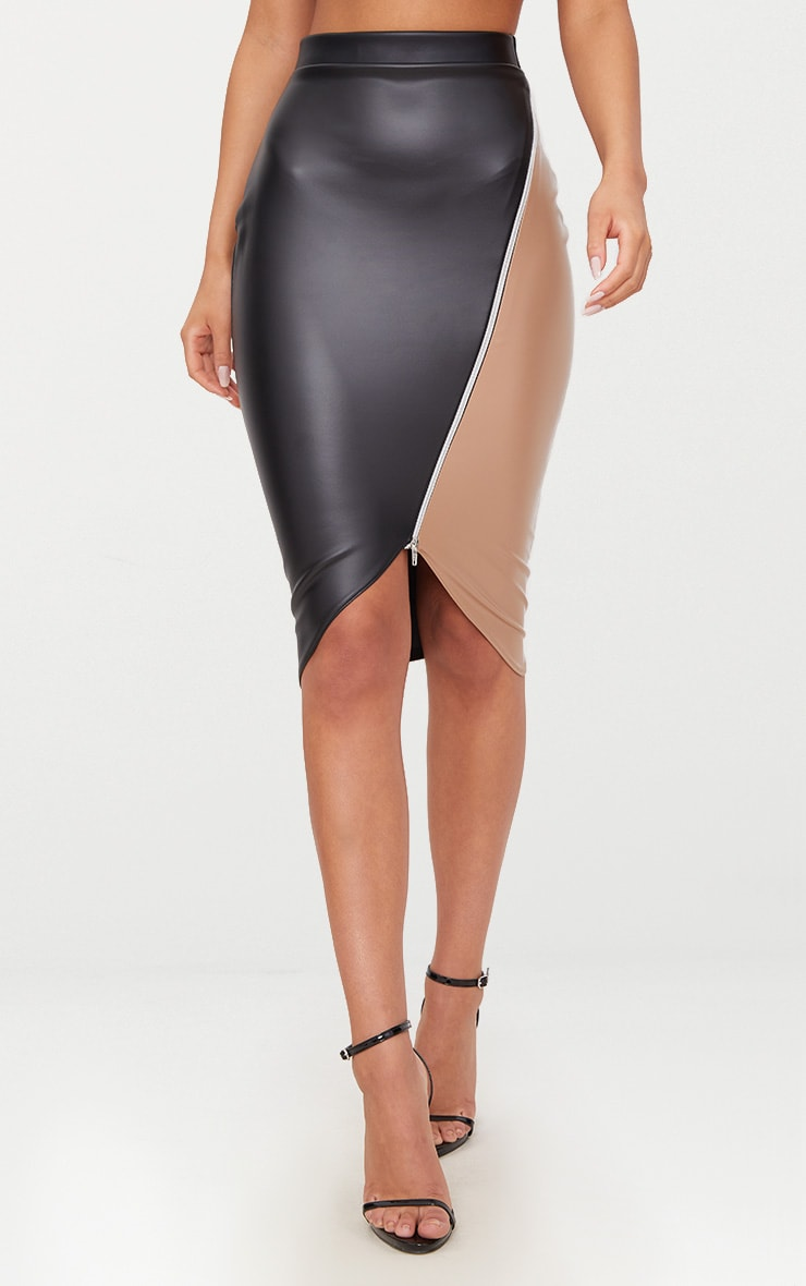 Black Faux Leather Asymmetric Zip Midi Skirt 2