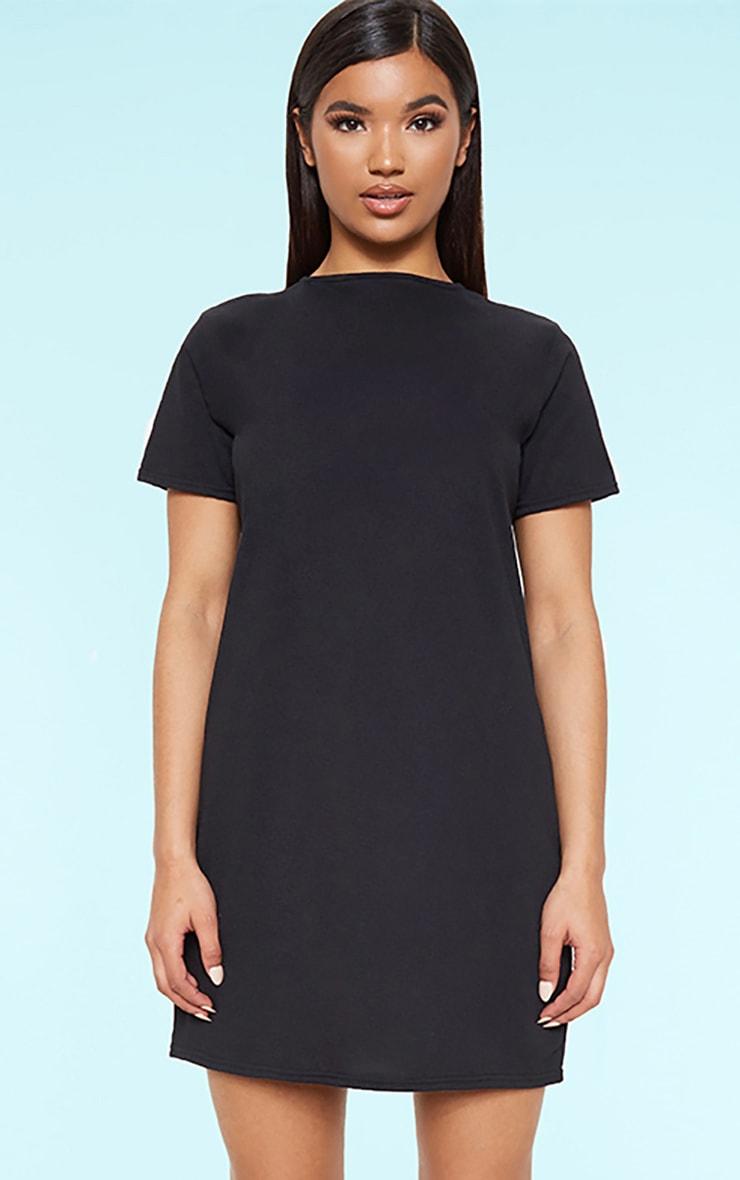 RECYCLED Black T Shirt Dress 1
