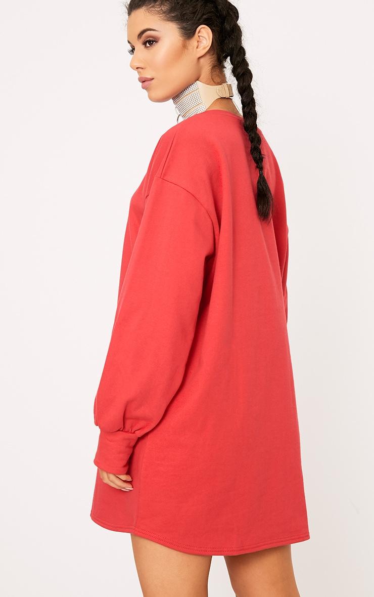 Sianna Red Oversized Sweater Dress 2