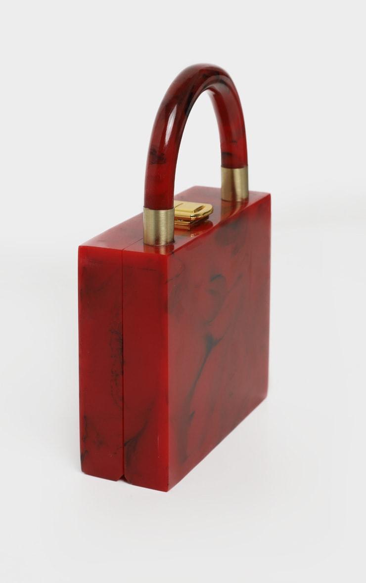 Red Mini Square Resin Clutch Bag 3
