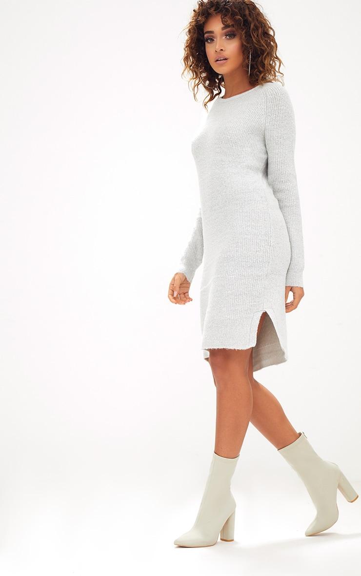 Grey Rib Jumper Dress 4