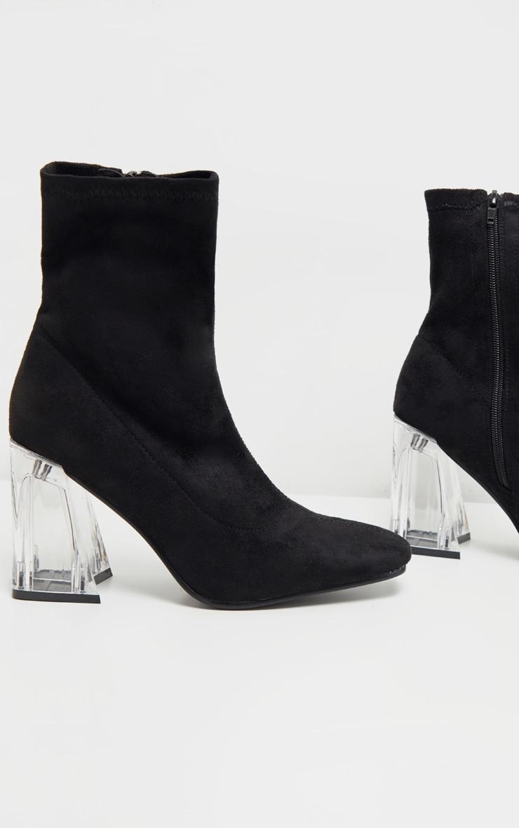 Bottes chaussettes noires à talon bloc transparent 3
