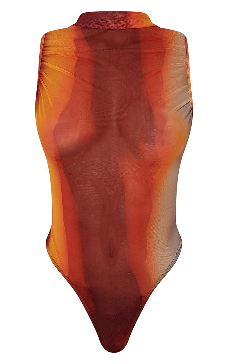 Orange Ombre Print Sheer High Neck Ruched Bodysuit 5