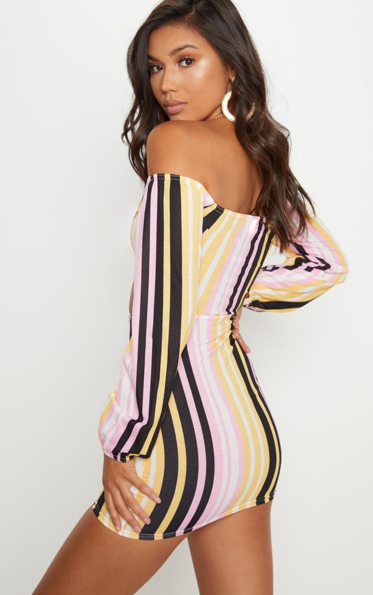 Multi Stripe Print Tie Front Bodycon Dress 2