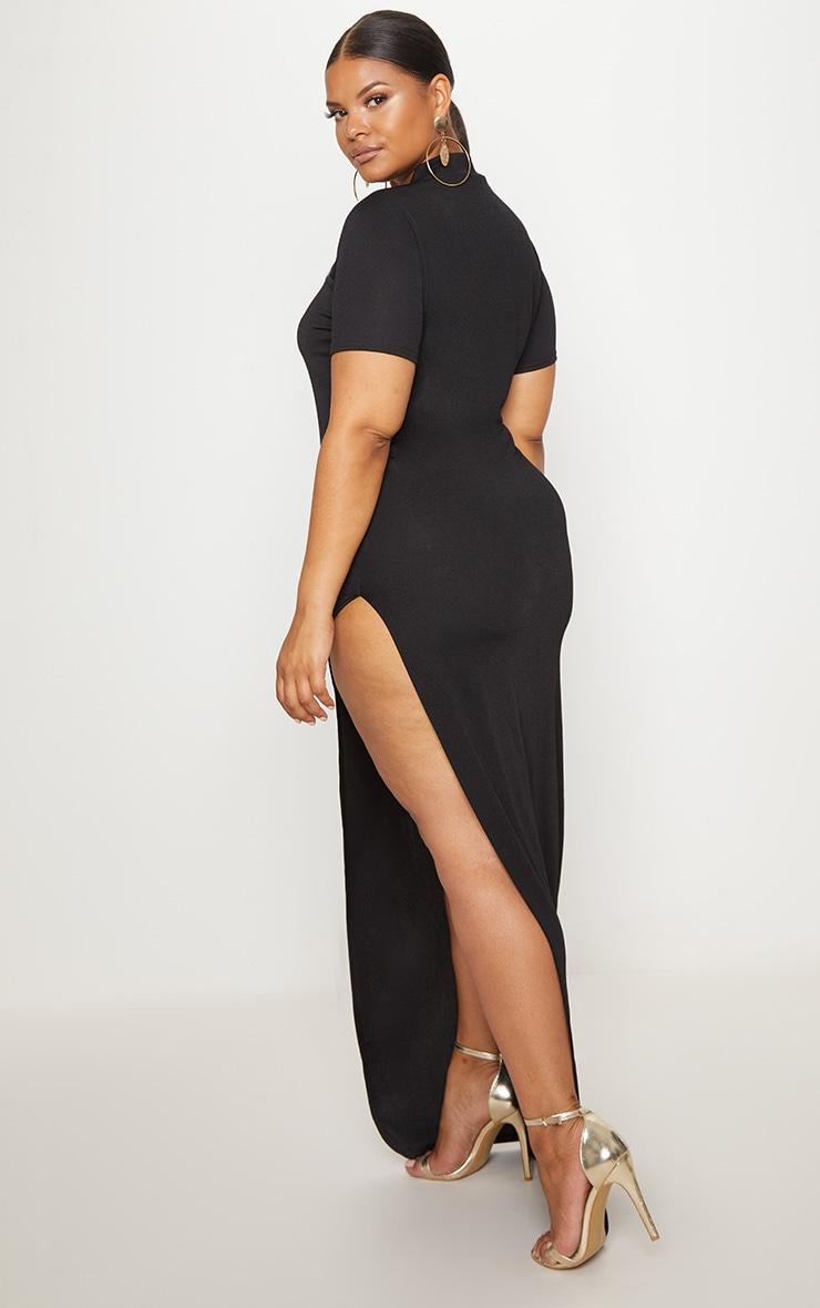 Plus Black Oriental Cut Out Detail Maxi Dress 2