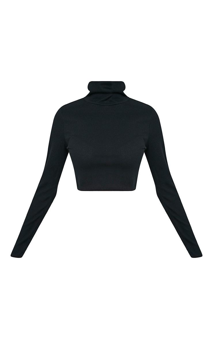 Adela Black Jersey Rib Roll Neck Crop Top 3