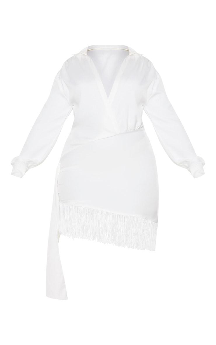 Plus White Long Sleeve Tassel Hem Drape Detail Bodycon Dress 5