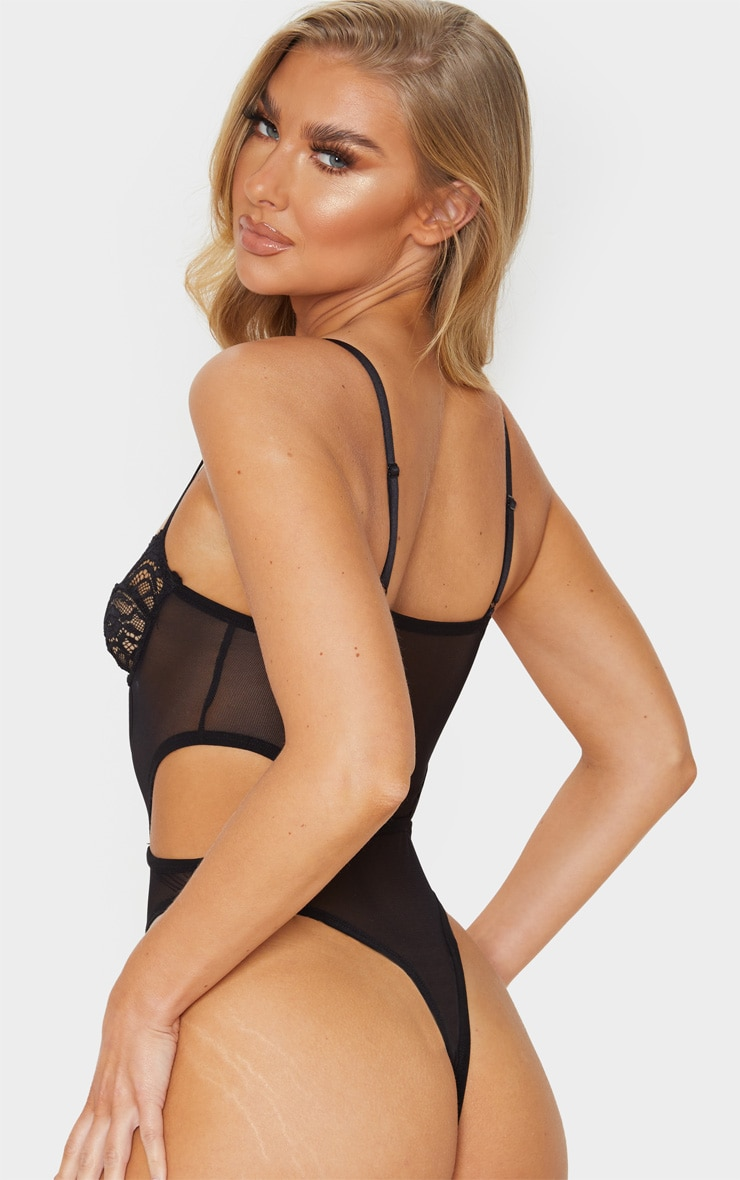 Black Cut Out Panels Lace Mesh Underwired Body 2