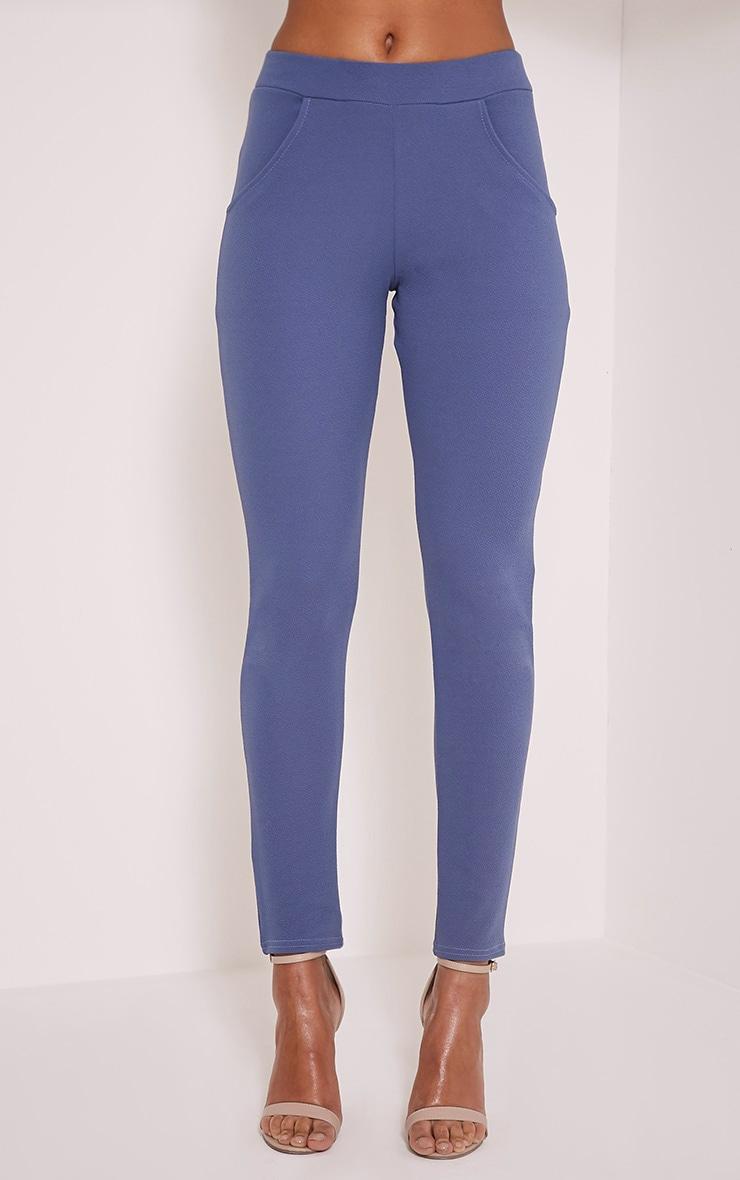 Sage Petrol Blue Crepe Cigarette Trousers 2