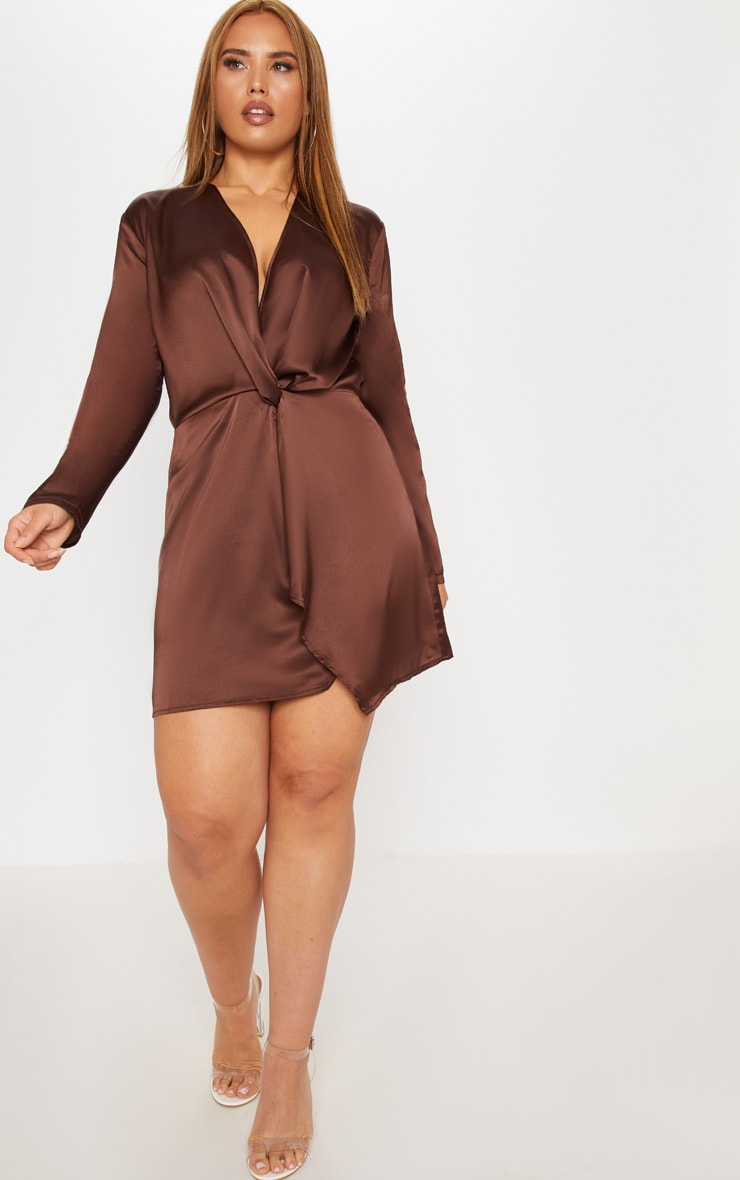 Plus Chocolate Brown Satin Long Sleeve Wrap Dress 4