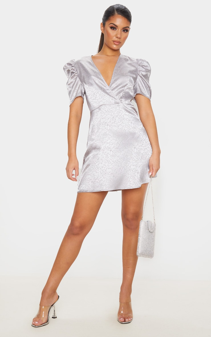 Grey Rose Floral Print Satin Puff Sleeve Shift Dress 1