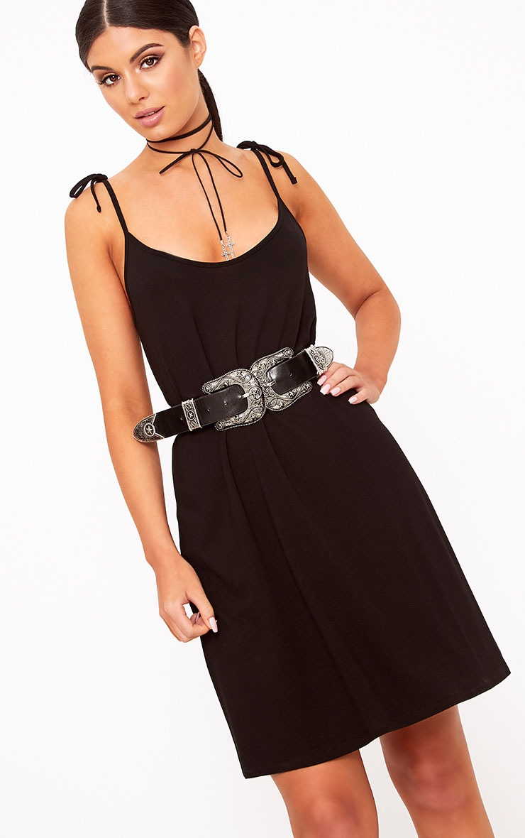 Shandra Black Jersey Tie Strap Swing Dress 1