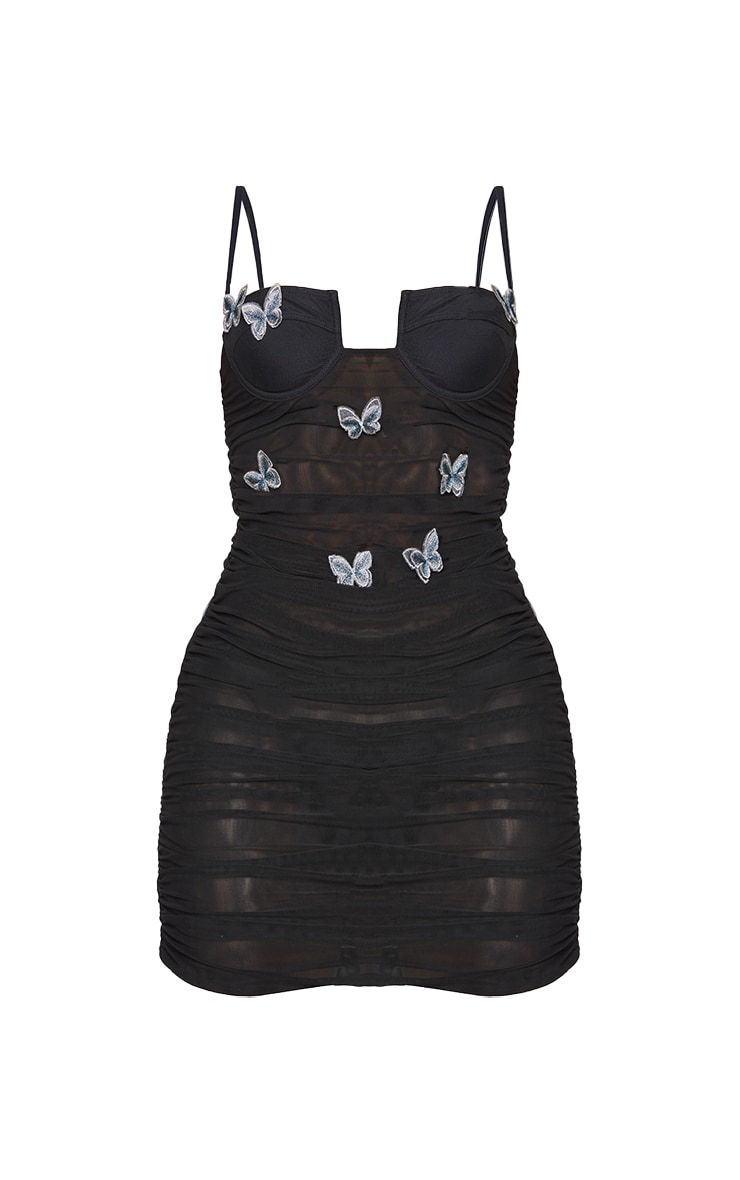 Shape Black Butterfly Embroidered Sheer Mesh Bodycon Dress 5