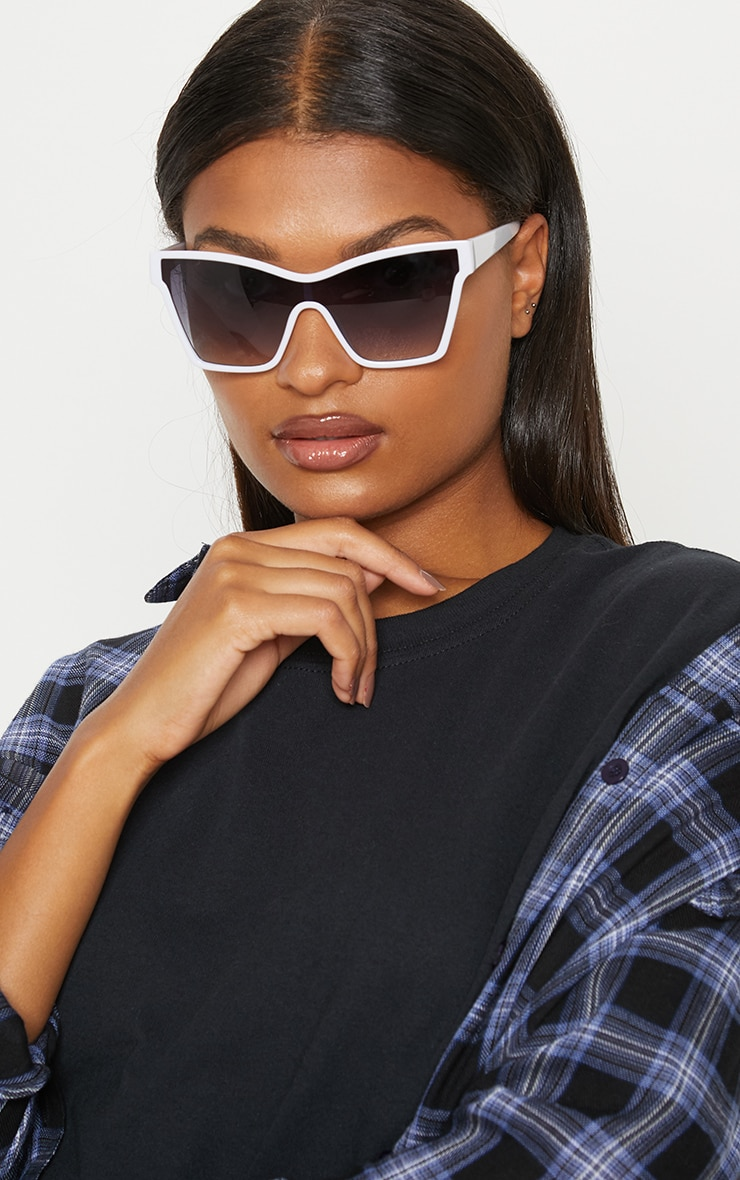 White Oversized Angled Sunglasses