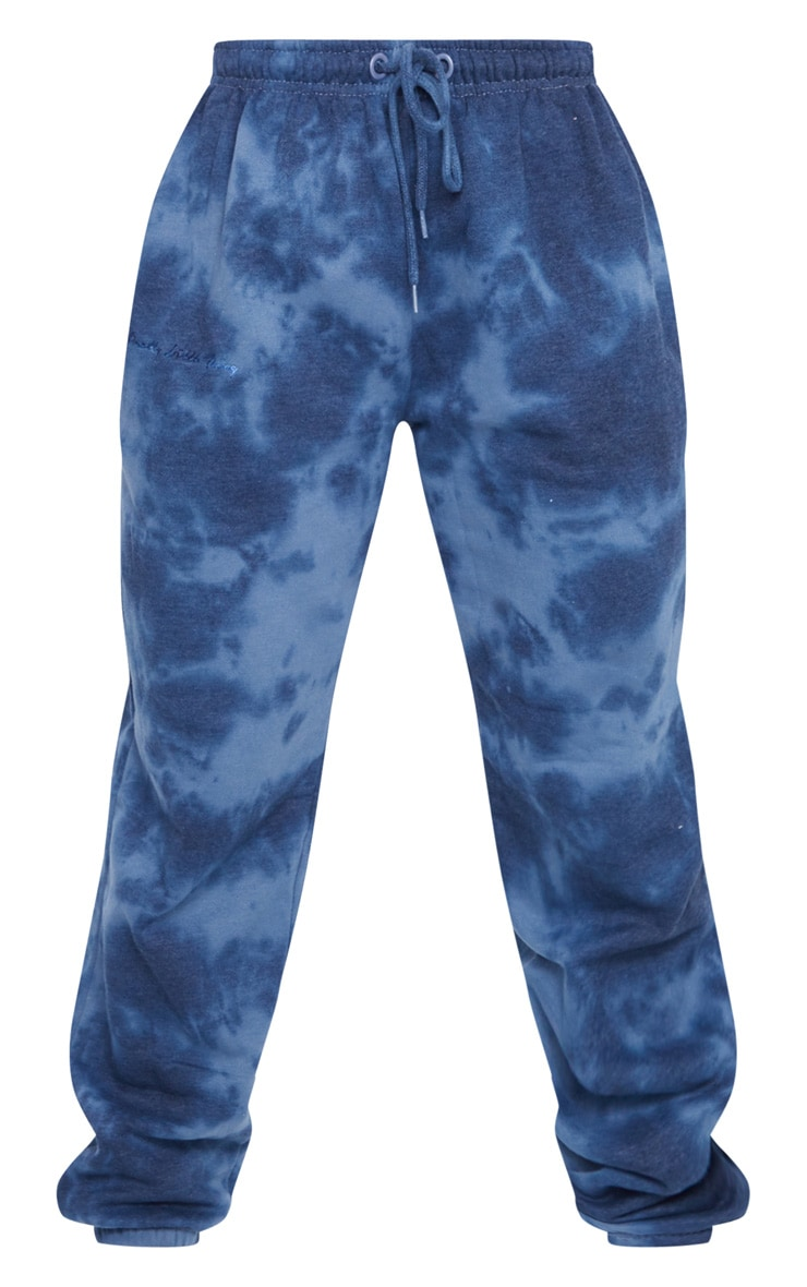 PRETTYLITTLETHING Navy Tie Dye Embroidered Joggers 5
