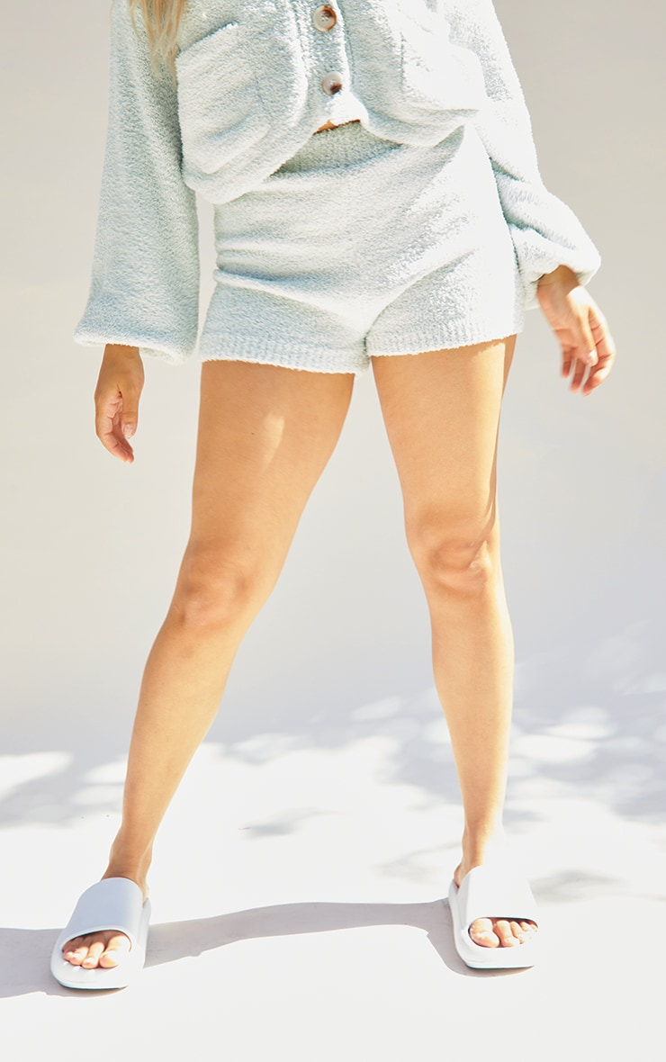 Petite Sage Green Fluffy Knitted Shorts 2