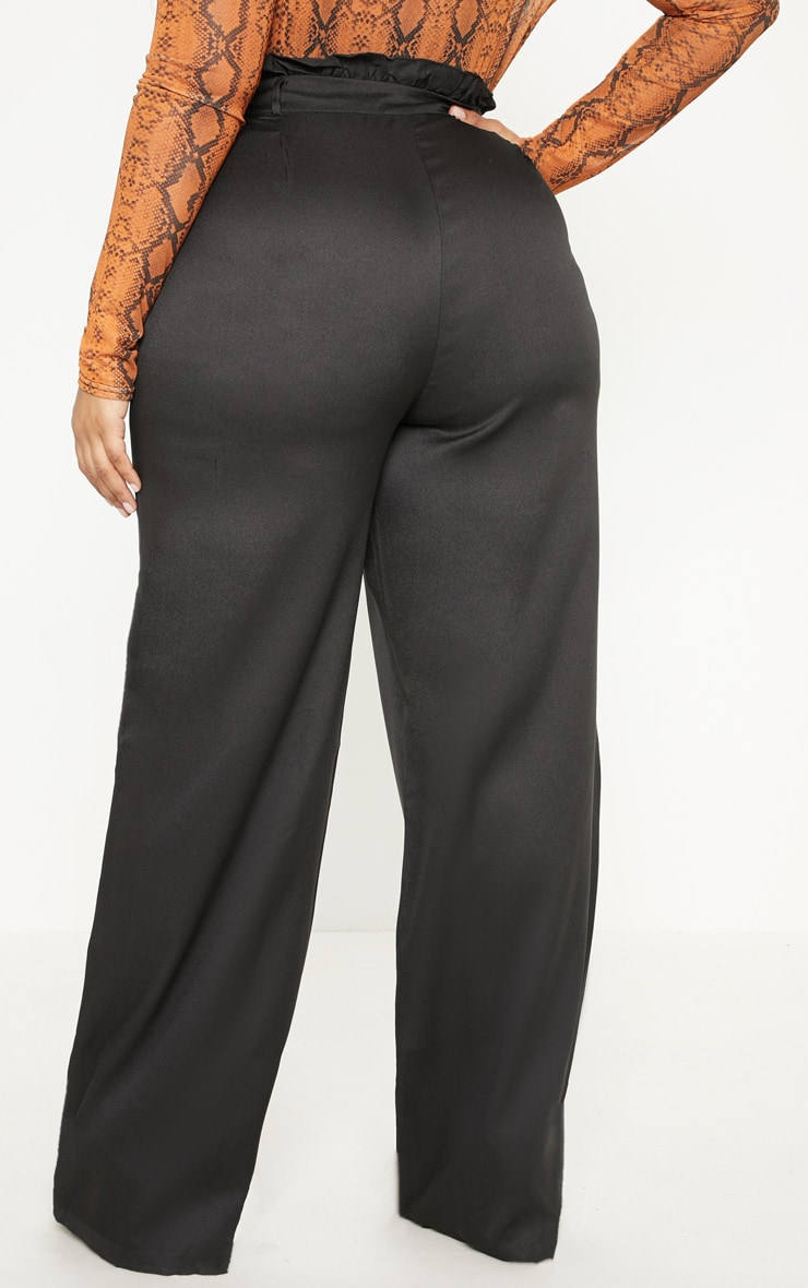 Plus Black Paperbag Wide Leg Pants 4