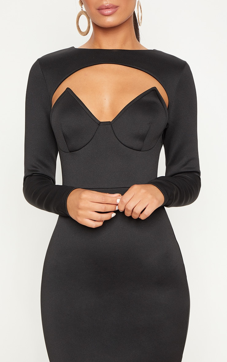 Black Long Sleeve Plunge Cut Out Detail Bodycon Dress 5