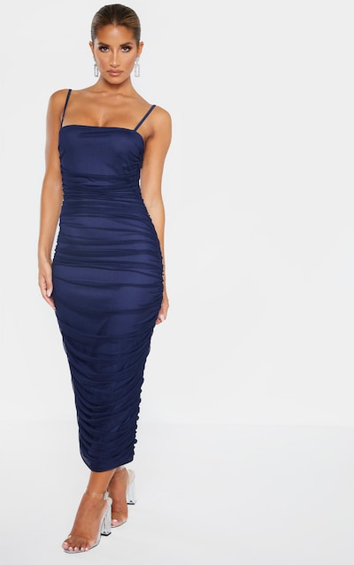 Navy Strappy Mesh Ruched Midaxi Dress