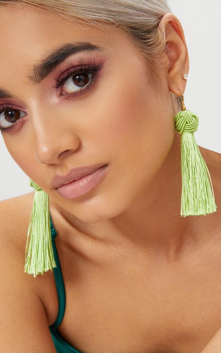 Lime Knotted Tassel Earrings 2