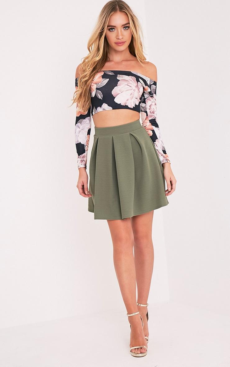 Tyra Khaki Box Pleat Full Mini Skirt 6