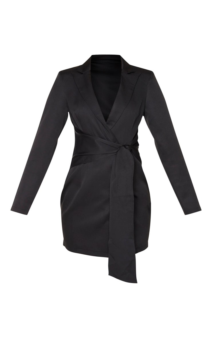 Black Wrap Detail Blazer Dress 3
