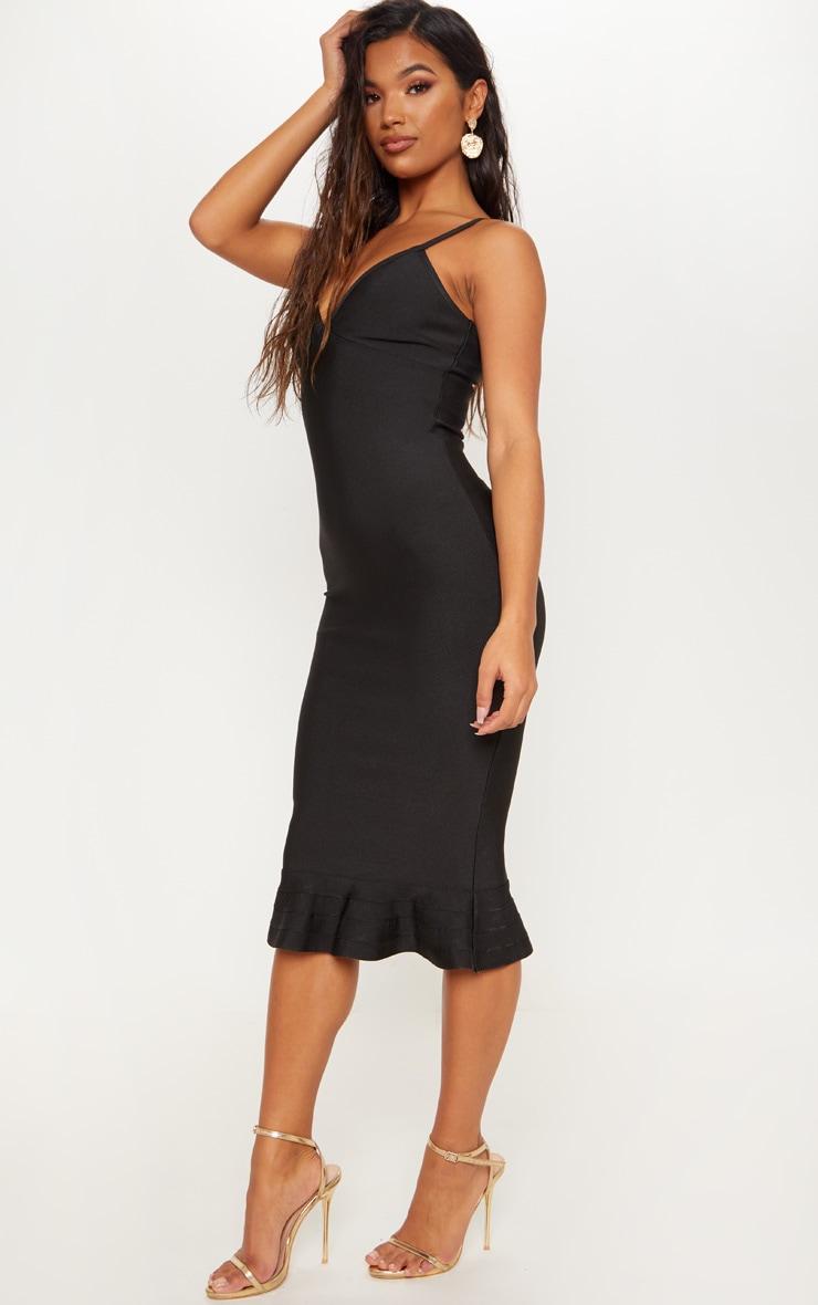 Black Bandage Strappy Frill Hem Midi Dress 4